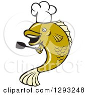Cartoon Chef Largemouth Bass Fish Holding A Spatula