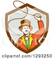 Clipart Of A Retro Circus Ringmaster Using A Bull Whip In A Brown White And Gray Shield Royalty Free Vector Illustration