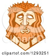 Clipart Of A Retro Face Of Jesus Christ With A Crown Of Thorns Royalty Free Vector Illustration by patrimonio