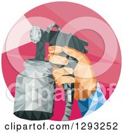 Poster, Art Print Of Low Polygon Geometric Retro Hand Holding A Spray Paint Gun In A Red Circle