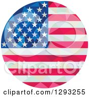 Clipart Of A Low Polygon Geometric American Flag Circle Royalty Free Vector Illustration
