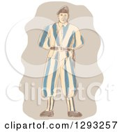 Clipart Of A Sketched Vatican Swiss Guard Royalty Free Vector Illustration