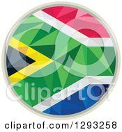 Clipart Of A Low Polygon Geometric South African Flag Circle Royalty Free Vector Illustration
