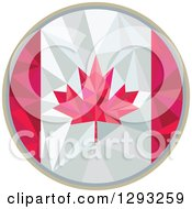 Clipart Of A Low Polygon Geometric Canadian Flag Circle Royalty Free Vector Illustration