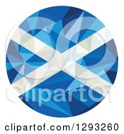 Clipart Of A Low Polygon Geometric Scottish Flag Circle Royalty Free Vector Illustration by patrimonio