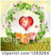 Clipart Of A Valentines Day Background Of An Arrow Through A Cupid Heart With Lattice And Roses In A Clover Wreath Royalty Free Vector Illustration by merlinul