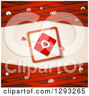 Clipart Of A Red Valentine Background With Cupids Arrow Through A Love Heart Card Over Lattice With Targets Royalty Free Vector Illustration