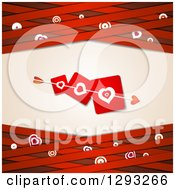 Clipart Of A Red Valentine Background With Cupids Arrow Through Love Heart Cards Over Lattice With Targets Royalty Free Vector Illustration
