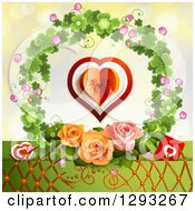 Clipart Of A Valentines Day Background Of Hearts Lattice And Roses In A Clover Wreath Royalty Free Vector Illustration