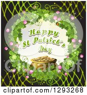 Clipart Of A St Patricks Day Greeting And Pot Of Gold In A Wreath Of Shamrocks Over Black With Lattice Royalty Free Vector Illustration