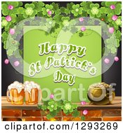 St Patricks Day Greeting Beer And Pot Of Gold With Shamrocks Over Black