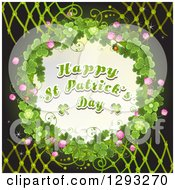 Happy St Patricks Day Greeting In A Ladybug And Shamrock Wreath On Black With Lattice