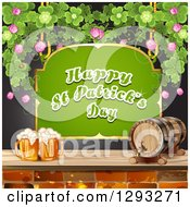 Green Happy St Patricks Day Sign With A Beer Keg And Mugs And Shamrocks Over Black
