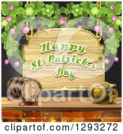 Wooden Happy St Patricks Day Sign With A Pot Of Gold Beer Keg And Shamrocks Over Black