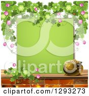 Clipart Of A St Patricks Day Background With A Pot Of Gold Shamrocks Ladybugs And A Blank Green Sign Royalty Free Vector Illustration