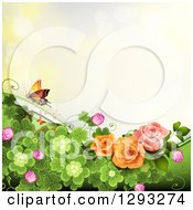 Clipart Of A Floral Background With Roses Shamrocks And A Butterfly With Bokeh Flares Royalty Free Vector Illustration