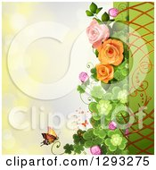 Floral Background With Roses Shamrocks And A Monarch Butterfly With Bokeh Flares