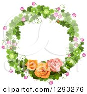 Clipart Of A Shamrock Wreath With Blossoms And Roses Royalty Free Vector Illustration