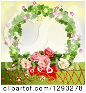 Clipart Of A Valentines Day Background Of Heart Cards Lattice And Roses In A Clover Wreath Royalty Free Vector Illustration