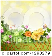 Floral Background With Roses Shamrocks Lattice And A Monarch Butterfly With Bokeh Flares