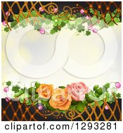 Floral Background With Roses Shamrocks Blossoms And Lattice