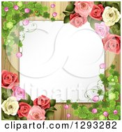 Clipart Of A Blank White Piece Of Paper Over Wood And Framed With Shamrocks Blossoms And Roses Royalty Free Vector Illustration by merlinul