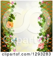 Floral Background With Roses Lattice Shamrocks And A Butterfly With Bokeh Flares