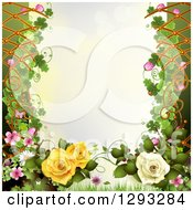 Floral Background With Roses Shamrocks And Lattice With Text Space