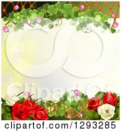Floral Background With White And Red Roses Shamrocks And A Lattice With Text Space