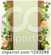 Floral Background A Blank Text Panel Peach And Pink Roses Shamrocks Blossoms And Lattice