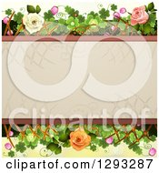 Floral Background With White Pink And Peach Roses Shamrocks Lattice And Blossoms With Text Space