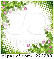 St Patricks Day Background With Grass Halftone Shamrocks Clover Flowers And Ladybugs