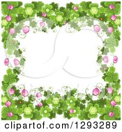 Clipart Of A St Patricks Day Background With Shamrocks Clover Flowers And Ladybugs Royalty Free Vector Illustration by merlinul