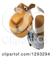 Clipart Of A 3d Doctor Camel Looking Around A Sign Royalty Free Illustration
