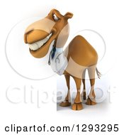 Clipart Of A 3d Doctor Camel Smiling Around A Sign Royalty Free Illustration