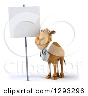 Clipart Of A 3d Doctor Camel By A Blank Sign Royalty Free Illustration