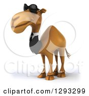 Clipart Of A 3d Business Camel Wearing Sunglasses And Facing Slightly Left Royalty Free Illustration