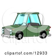 Green Two Door Car Clipart Illustration