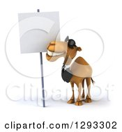 Clipart Of A 3d Happy Business Camel Wearing Sunglasses And Looking Up At A Blank Sign Royalty Free Illustration