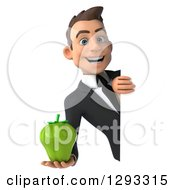 Clipart Of A 3d Happy Young Brunette White Businessman Holding A Green Bell Pepper Around A Sign Royalty Free Illustration