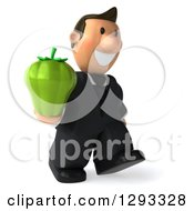 Clipart Of A 3D Happy Short White Businessman Facing Right And Walking With A Green Bell Pepper Royalty Free Illustration