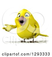 Clipart Of A 3d Happy Yellow Bird Presenting Royalty Free Illustration