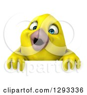 Clipart Of A 3d Happy Yellow Bird Over A Sign Royalty Free Illustration