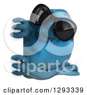 Clipart Of A 3d Bluebird Wearing Sunglasses And Looking Around A Sign Royalty Free Illustration by Julos