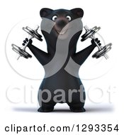 Clipart Of A 3d Happy Black Bear Doing Shoulder Presses And Working Out With Dumbbells Royalty Free Illustration