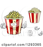 Clipart Of A Face Hands And Popcorn Buckets Royalty Free Vector Illustration