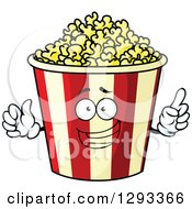 Clipart Of A Smart Talking Popcorn Bucket Character Royalty Free Vector Illustration