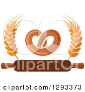 Clipart Of A Soft Pretzel With Wheat And A Rolling Pin Royalty Free Vector Illustration