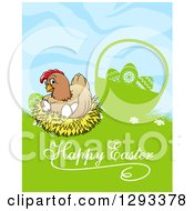 Clipart Of A Nesting Hen By A Silhouetted Basket In Grass With Happy Easter Text Royalty Free Vector Illustration