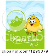 Clipart Of A Yellow Chick By A Silhouetted Basket In Grass With Happy Easter Text Royalty Free Vector Illustration